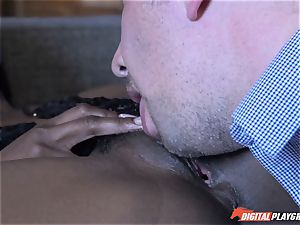 cool dark-hued babe Jezabel Vessir has her vagina slammed nutsack deep by Keiran