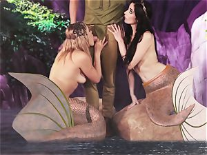 steamy mermaid threesome with Aiden Ashley and Mia Malkova