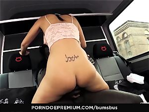 bums BUS - wild chick multiracial lovemaking and cum on bumpers