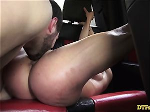 James Deen takes cougar Cherie Deville for a rail on his knob in the car