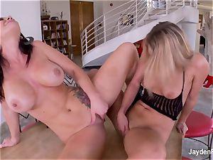 buxom sex industry star Jayden pummels her steaming ash-blonde girlfriend