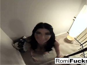 Home video of Romi Rain deepthroating a giant trunk