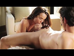 A romantic lovemaking with brunette