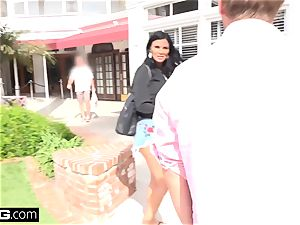 Jasmine Jae brings her guy toy along for a pov pounding