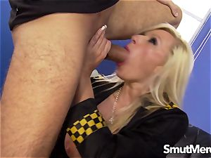 kinky police officer Michelle Throne makes him pay a ticket with his penis