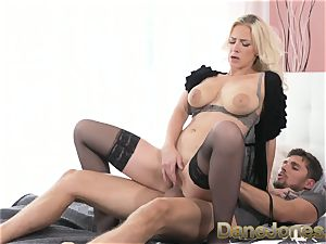 Dane Jones large cupcakes platinum-blonde in tights and high-heeled shoes