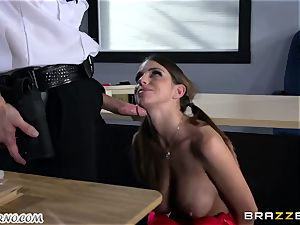 Policeman punishes super-naughty college girl on the table