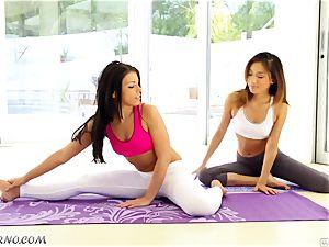 naked bombshells Alina Li and Adriana Chechik doing fuck-fest yoga