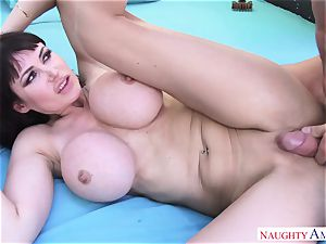 immense stud Johnny Castle drills his busty neighbor in the backyard