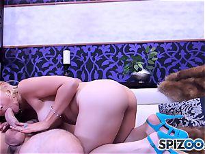 Sarah Vandella deepthroating and plowing a phat man-meat