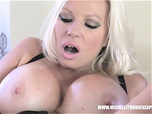 Oily towheaded biker honey strokes with a large dark-hued plaything