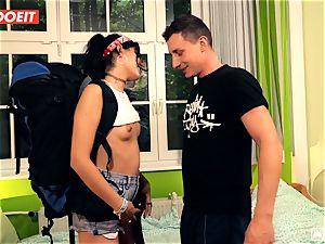 LETSDOEIT - wild Traveler tears up fortunate German In Hostel