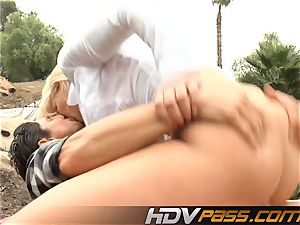 blond babe Phoenix Marie with yam-sized bra-stuffers public plumb