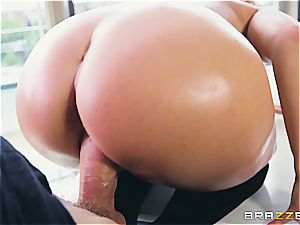 Liza Del Sierra gets her rump oiled up and nailed by Danny D