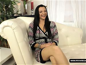 dark haired Anita Gets banged in the caboose during Her Casti