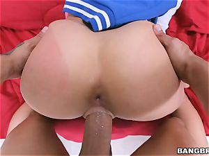immense donk dark haired Ashley Adams riding in reverse cowgirl