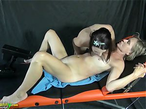 OldNanny Mature gets plumbed on rubdown table