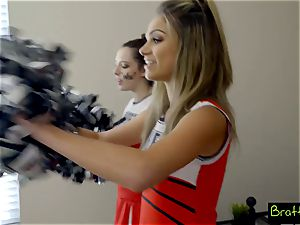 teenager cheerleader drills her stepbrother