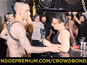 CROWD bondage - Silicone orbs light-haired kinky public fucky-fucky