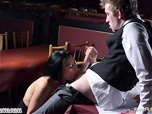 wonderful buxom waitress Jasmine Jae gets her tight slit plowed by Danny