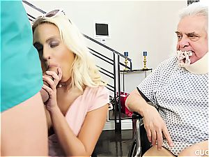 buxom ash-blonde ravages a masculine nurse in front of her sugardaddy
