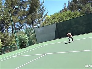 bra-less tennis with Dani Daniels and Cherie DeVille