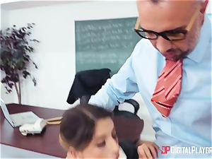rigorous teacher Keiran Lee punishes his negligent collegegirl