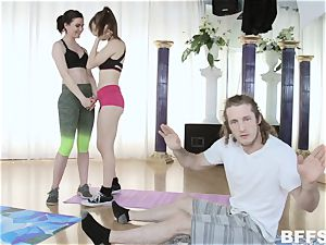 Sofia Like, Alex Blake and Maddie Winters Yoga freak schlong railing