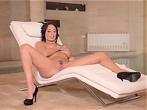 huge-chested French milf fingers Her humid beaver