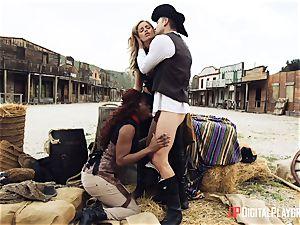 dark-hued cowgirl Jasmine Webb and platinum-blonde Jessa Rhodes takes cowboy chisel