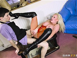 mischievous light-haired Michelle Thorne slobbering on my meaty man sausage